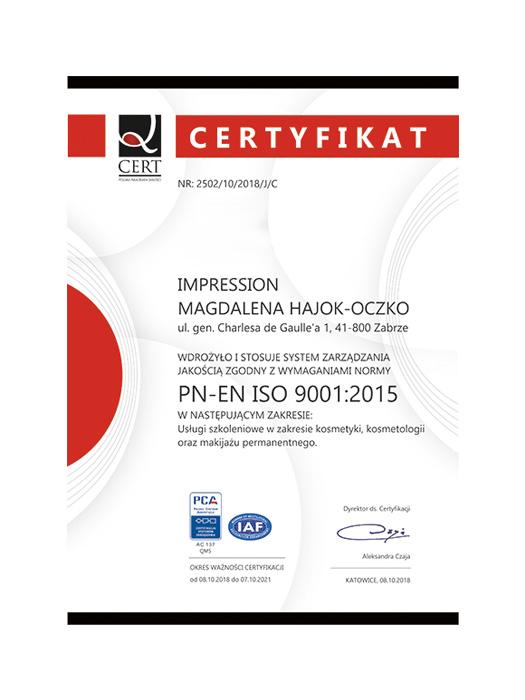 Certyfikat jakości ISO Impression Zabrze